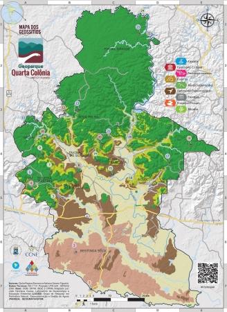 Mapa de Geossítios da Quarta Colônia